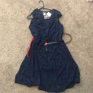 NWT. Lace Navy Dress with Red belt